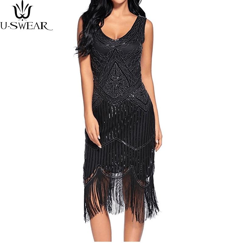 High Quality Women 1920s Great Gatsby Vintage Fringe Flapper Dress Girl Sequin Bead Sleeveless Summer Dress Vestido De Fiesta