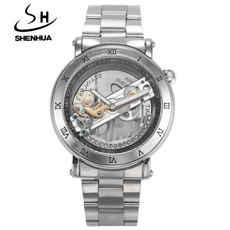 ФОТО New Mechanical Hollow Watches Men Top Brand Luxury SHENHUA Flywheel Automatic Skeleton Watch Men Tourbillon Wrist Watch For Men