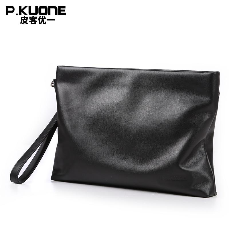 P.KUONE Brand Genuine Leather Men Clutch Bags Cow Leather Wallet Male Simple Design Wallet Men's Purses Envelope Bag Wristlet
