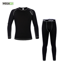 WOSAWE Men Winter Outdoors Sports Cycling Base Layer Sets Thermal Fleece Underwear Surface Long Johns Bicycle Clothing Suit