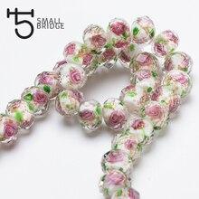 12 мм Большой муранского прозрачные стеклянные бусины в технике лэмпворк для изготовления ювелирных изделий Для женщин Diy браслет цветок Rondelle граненые бусины L002