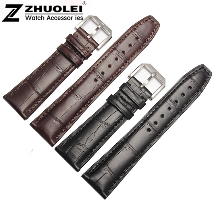 20mm 21mm 22mm Size Available 1pcs Brown Genuine Alligator Leather Watch Strap Band High Brushed Stainless Steel Clasp Buckle