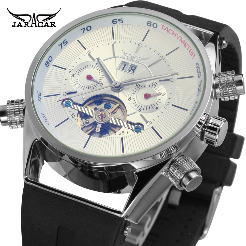 лучшая цена JARGAR JAG448M3S2 NEWEST DESIGN FOR MEN AUTOMATIC WATCH WITH silver color case&dial black plastic band FREE SHIPPING