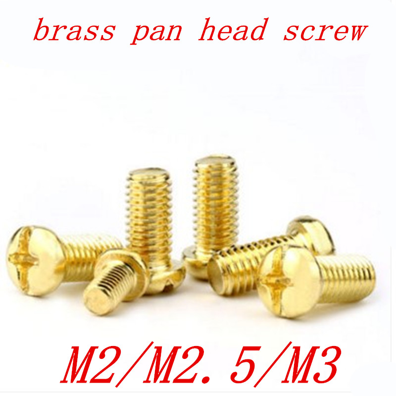 50pcs/lot M2 M2.5 M3 M4 DIN7985 GB818 Brass Cross Recessed Pan Head PM Screws Phillips Screws 50pcs m2 m2 5 m3 m4 iso7045 din7985 gb818 304 stainless steel cross recessed pan head screws phillips screws hw002