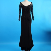 Sexy Black Sequin Lace Long Sheer Sleeve Elegant Evening Gown Side Slit Long Celebrity Dresses With