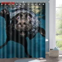 WONZOM Polyester Fabric Pig Swimming Shower Curtain Elephant Bathroom Decor Waterproof Animal Cortina De Bano With 12 Hooks Gift