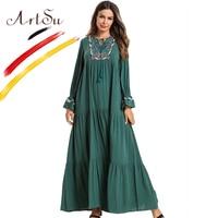 ArtSu 2019 Geometric Embroidery Tie Neck Tassel Retro Ethnic Long Dress Plus Size Robe Femme Draped Swing Women Maxi Green Dress