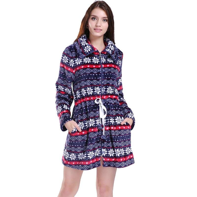 Fashion Plus Size Coral Fleece Zipper Long Christmas Fair Isle ...