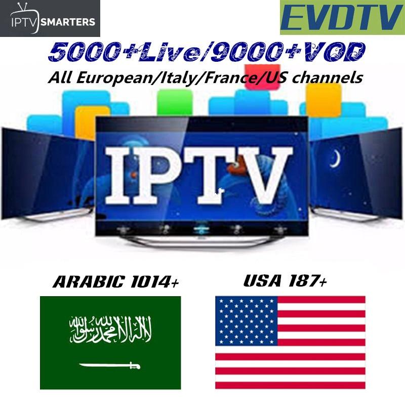 5000 Channels VOD EVDTV IPTV subscription Europe Romania Netherlands India US Italy French Saudi Arabia Smart