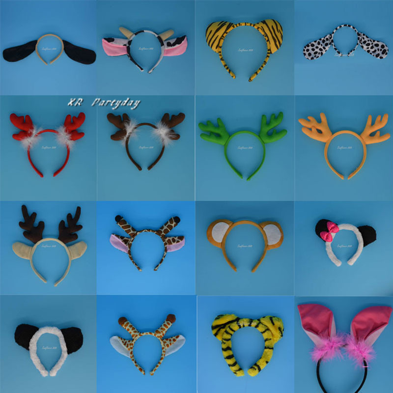 Kids Adult Animal Ear Ear Headband Dog Elephant Monkey Hovedtøj Headpiece Masquerade Party Favors Gave Christmas Halloween