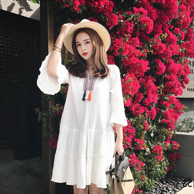 New Maternity Dress Pregnant Women Dress Summer Maternity Embroidery Dresses  White Dress Loose And Comfortable Fashion 92927cdb2a75