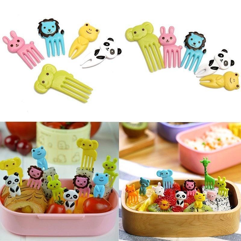 New 10pcs Cartoon Animal Food Fruit Picks Forks Home Party Accessory Decor Tool