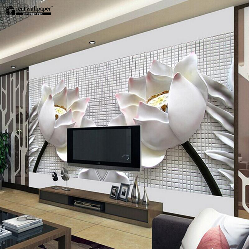 Captivating Aliexpress.com : Buy Custom Any Size 3D Wall Mural Wallpaper, New Modern  Fashion Lotus Relief Wallpaper 3d Flowers Wall Murals For Living Room From  Reliable ... Part 4