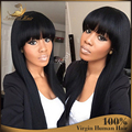 100% Real Glueless Brazilian straight Full Lace Human Hair Wig Full bangs Long Virgin Hair Lace wig with bangs For Black Women