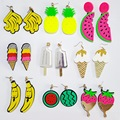 Summer Punk Fashion Style Candy Big Acrylic Watermelon Shape Fruit  Pendant Female Jewelry cc Acrylic Long Pendientes for Girls