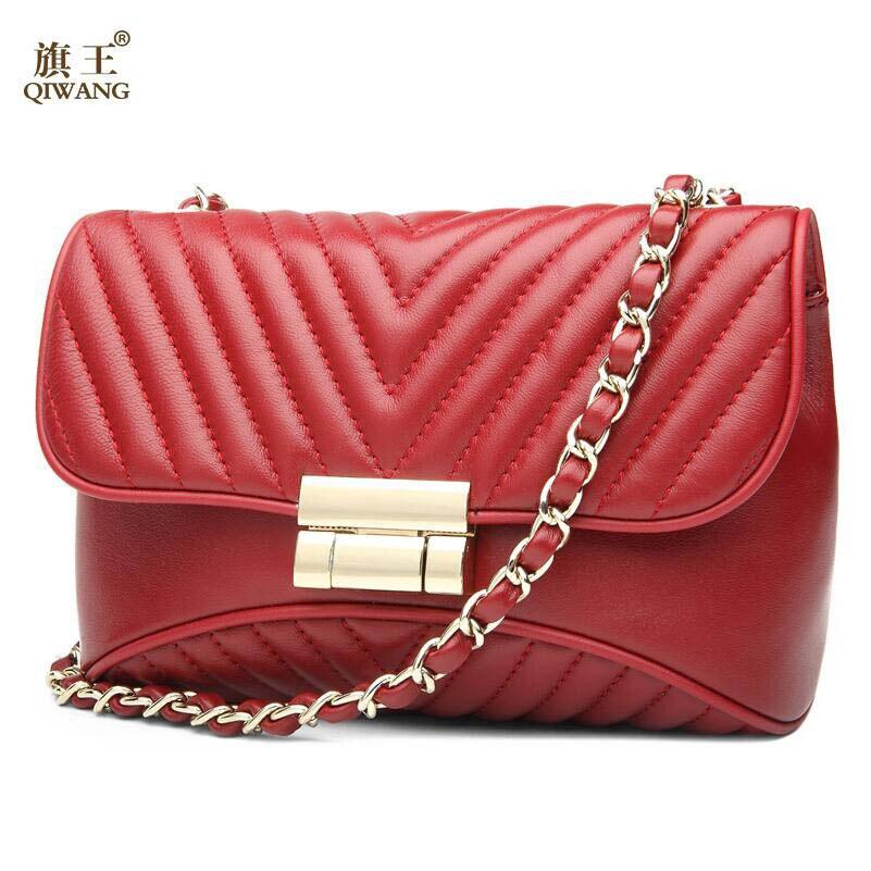 ФОТО QIWANG high-quality fashion luxury brand 2017 new shoulder genuine leather handbag counter genuine, women's well-known brands