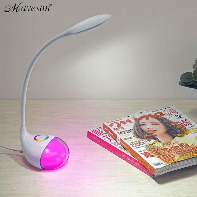 Новая Мода Защита Глаз СВЕТОДИОДНЫЕ Настольные лампы с изменяемым цветом база Чтение Настольные Лампы Регулируемая яркость для детей