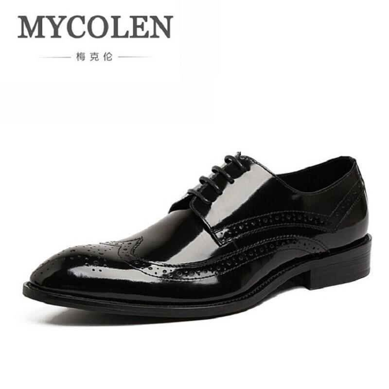 Homens Negócios Genuíno Brogue Bullock Formal Mens brown Oco Esculpida Sapatos Vestem Zapatos Escritório Mycolen Marca Couro Preto Italiano De Se 4q0SwPI