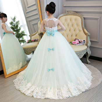 2018 Children Girls Luxury Wedding Birthday Holiday Party Long Trailing Dress Kids Elegant Princess Lace Communication Dresses