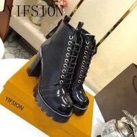 YIFSION/женские ботинки гладиаторы наивысшего качества из натуральной кожи на шнуровке женские ботинки на платформе с круглым носком на высок