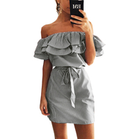 Ruffles Slash Neck Women Striped Dress Summer Sexy Cute Mini Dress Vestidos Girls Bandage Striped Party