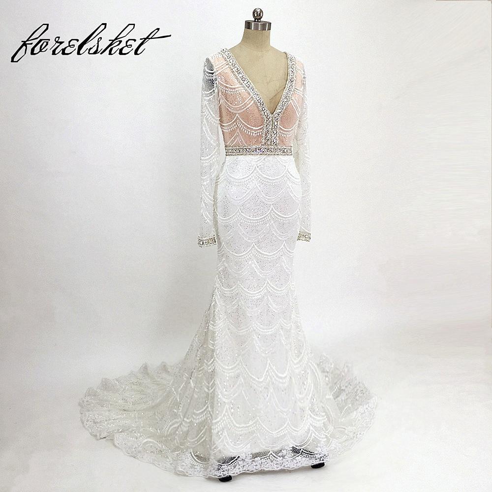 Luxe kant zeemeermin trouwjurk voor bruids 2018 v nek borduurwerk - Trouwjurken
