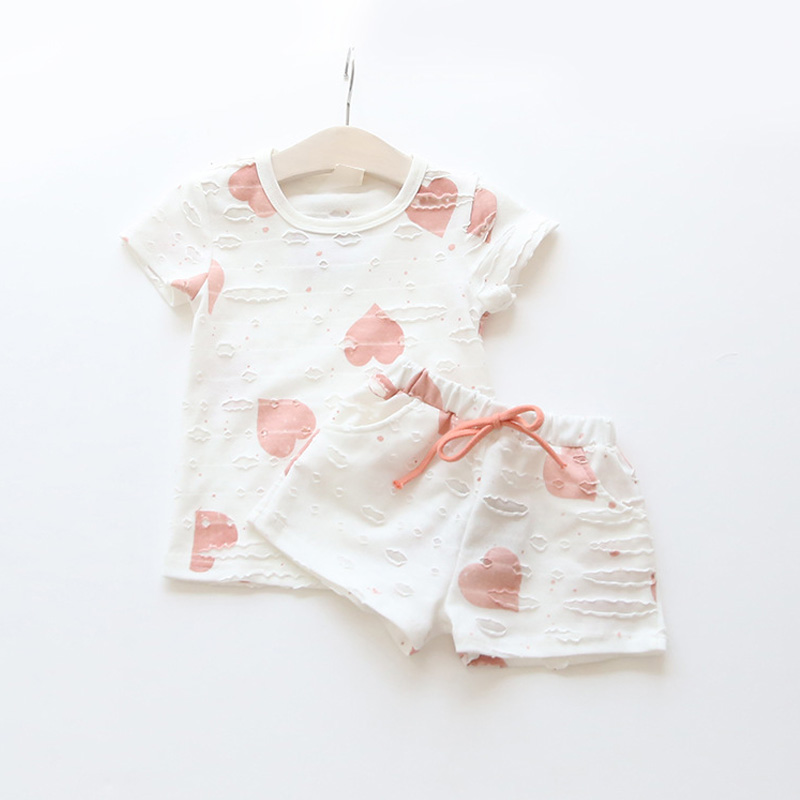 2016 New Summer Print Heart Girls Clothing Sets Short Sleeve Shirt and Shorts Kids Clothes Sets Kids Clothes