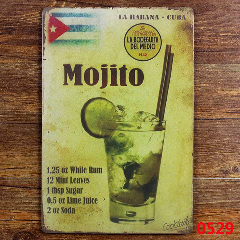 MOJITO CUBA COOKTAIL Tin Sign Metal Painting PUB Decoration Retro iron Pub Bar crafts cocktail decor