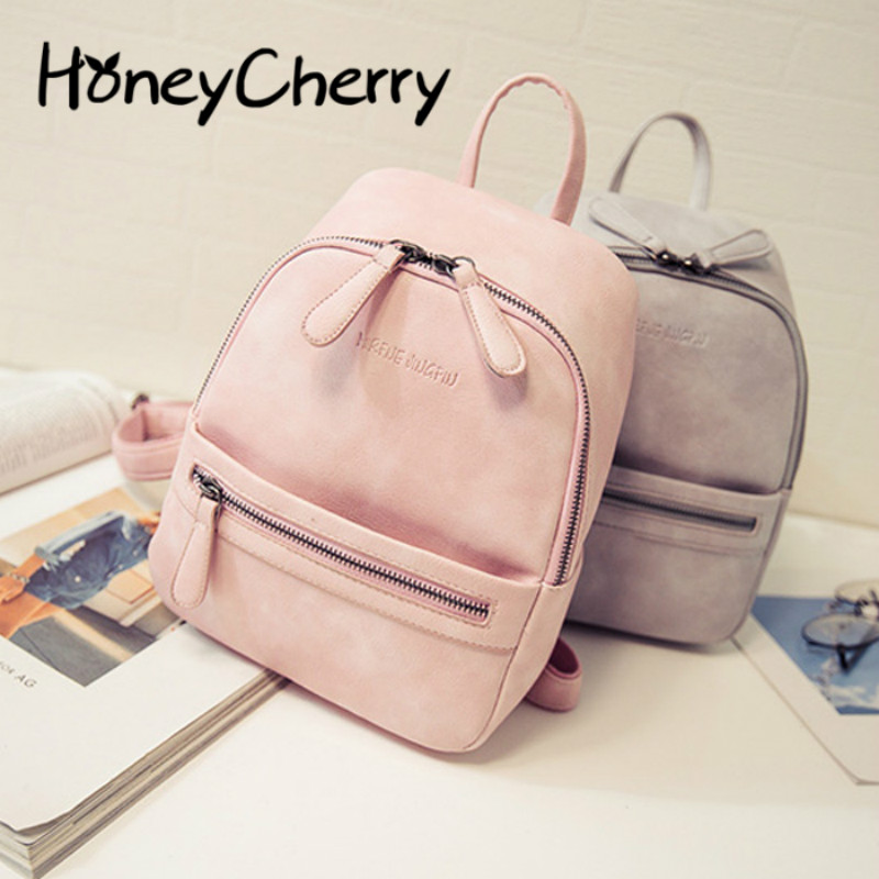 31813f1a3ee9 2016 New Korean Tide Small Fresh College Mini Backpack Soft Pu Candy Color Small  Backpack Female Bag-in Backpacks from Luggage   Bags on Aliexpress.com ...