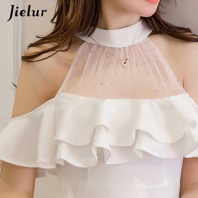 cf308a40370ad Jielur Elegant Off Shoulder Dress Summer S-XXL Korean Hipster Black White  Vestido Mujer Sexy Slim Ruffles A Line Dress Dropship