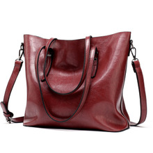 European and American fashion new womens bag retro oil simple Bag Tote