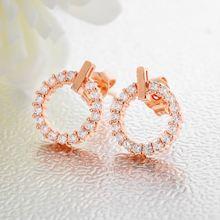 Женские серьги гвоздики из розового золота с белым кубическим
