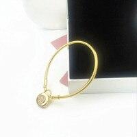 2019 High quality Charm Carved Silver 925 shine pandoras bracelet golds women bangle chain Padlock Jewelry Making,1pz