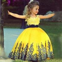 Festzug-kleid Little Prinzessin Glitz Ballkleid Spitze Gelb Ballkleid Nettes Blumenmädchen Kleid 2017 mit Schwarze Schärpe