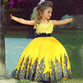 Pageant Dress Little Princess Glitz Ball Gown Lace Yellow Ball Gown Cute Flower Girl Dress 2017 with Black Sash