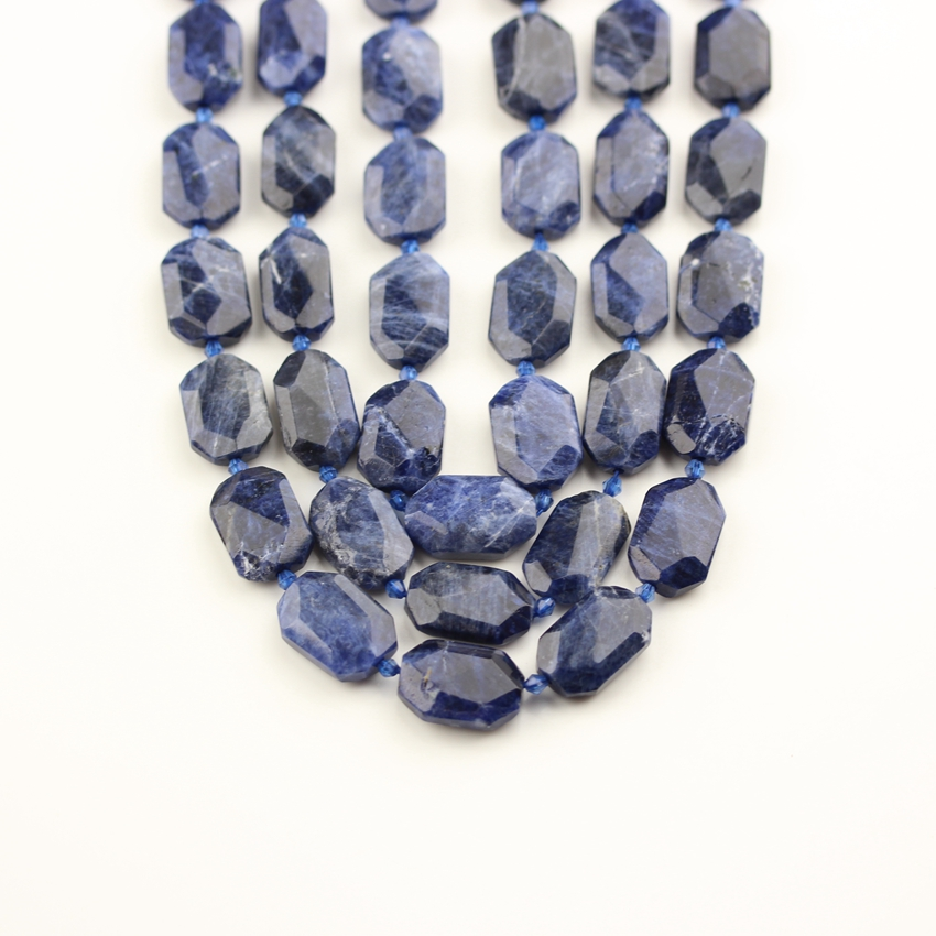 Natural Blue Sodalite Beads for Bracelet Jewelry,Drilled Polished Cuts Loose Octangle Shape Beads for Men NecklaceNatural Blue Sodalite Beads for Bracelet Jewelry,Drilled Polished Cuts Loose Octangle Shape Beads for Men Necklace