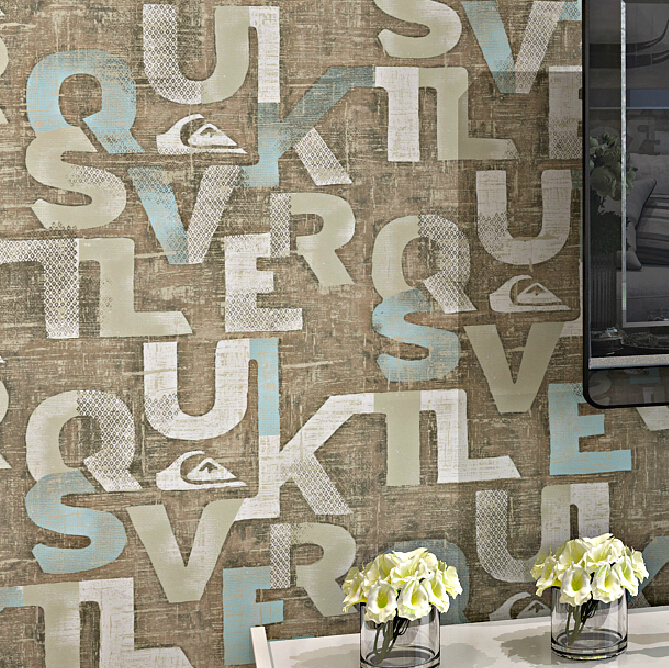 Vintage alphabet mural wallpaper modern living room for Alphabet wall mural