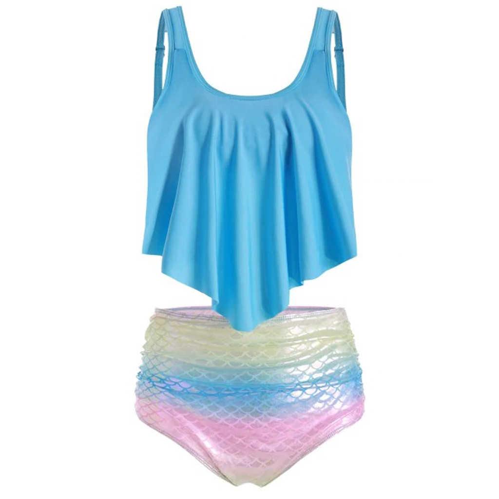 ファッション女性二枚トップとフリルハイウエストボトムビキニセット水着ワイヤー送料ビーチウェアレディース · ガールズ 719