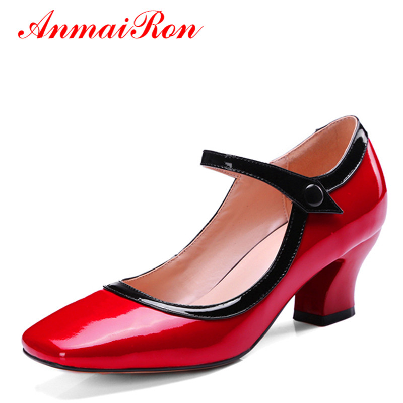 ФОТО ANMAIRON Genuine Leather Shoes Women Kitten Heels Pumps Low Heel High Heels Mary Janes Shoes Woman Nude Pumps Lady Shoes