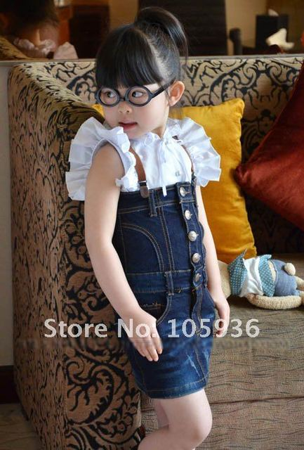22014649c Free Shipping Girls Sets Clothes(Bull puncher skirt+shirt+straps ...
