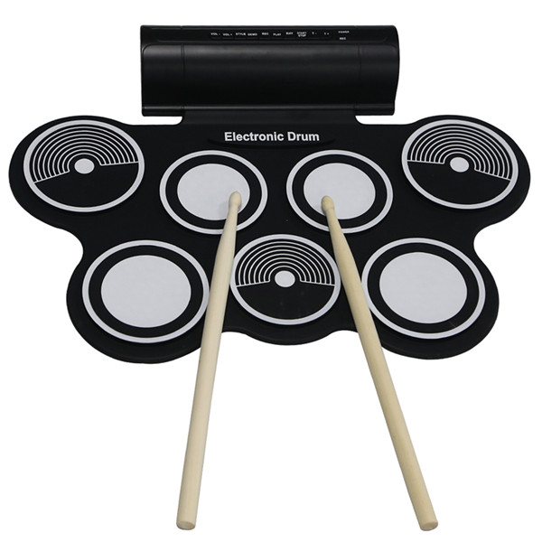 professional 7 pads portable roll up usb midi electronic drum set with drum sticks pedals in. Black Bedroom Furniture Sets. Home Design Ideas