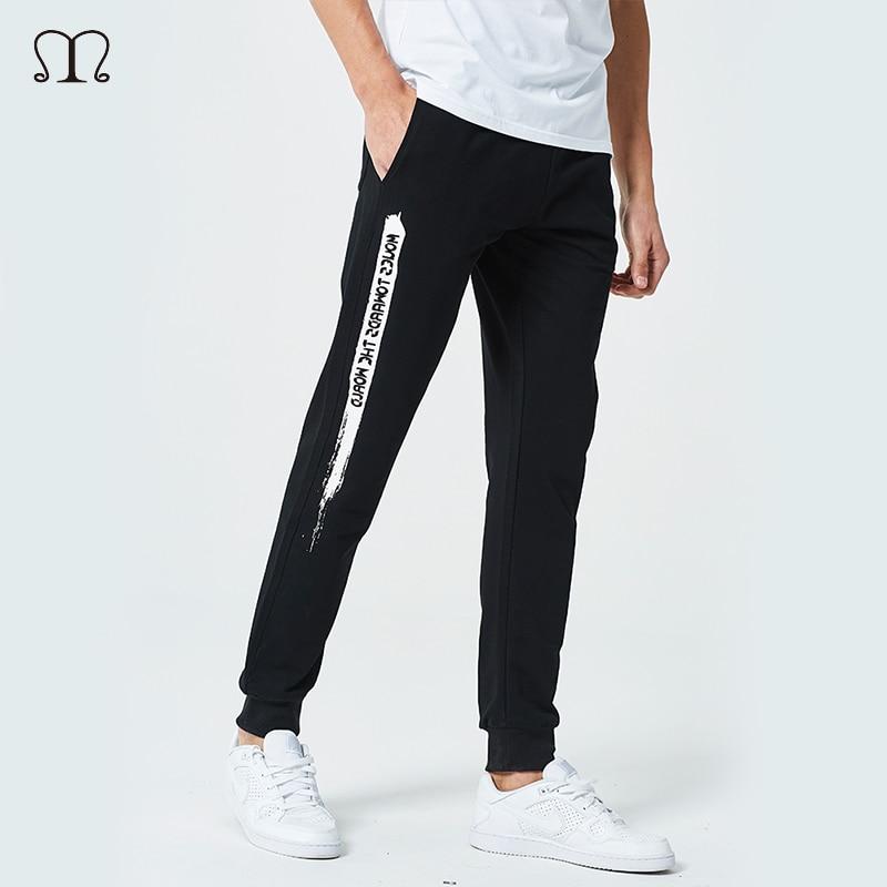 Men Pants 2018 New Design Casual hombres pantalones Cotton Slim Pant Straight Trousers Fashion Letter Print Pants Men Plus Size