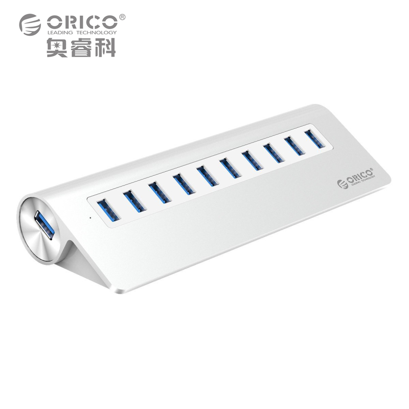 ORICO M3H10-SV Aluminum New Mac Design 10 Port EU Plug High Speed Powered USB 3.0 Hub with VL812 Chip orico h3ts u3 3 port multifunctional usb3 0 hub with sd