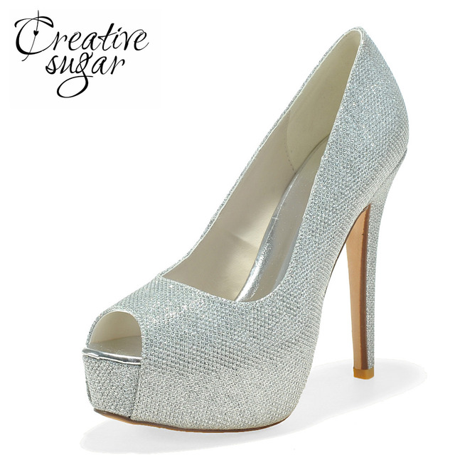 e212bb6e0b3 Creativesugar Ladies platform high heel dress shoes gold silver black glitter  pumps wedding open toe heels party prom cocktail