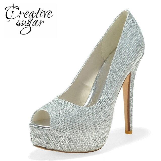 2fa1284735 Creativesugar plataforma Senhoras vestido de salto alto sapatos de ouro  preto prata glitter bombas de casamento