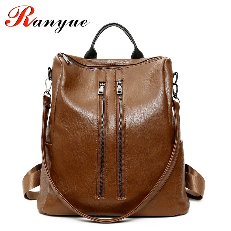 RANYUE Anti Theft Backpack Women Vintage School Bags For teenage Girls Womens Leather Backpacks 2018 New Sac A Dos Femme En Cuir