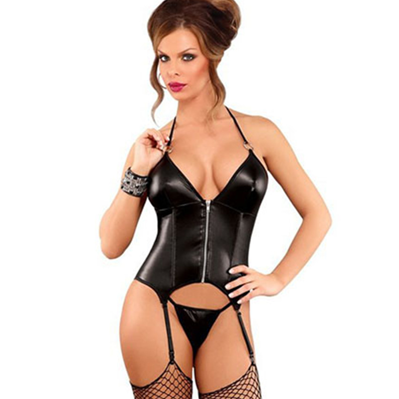 M-XXL Sexy Steampunk Vinyl Leather Halter   Corset   Gothic Women   Bustiers   And   Corsets   Black Wetlook Front Zipper Slimming Shapewear