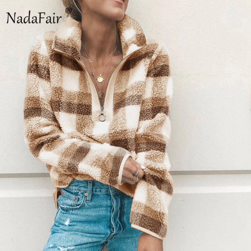 Nadafair Autumn Winter Fleece Faux Fur Plaid Hoodies Women Zipper Loose Casual Sweatshirts Female Thicken Warm Soft Plush Tops