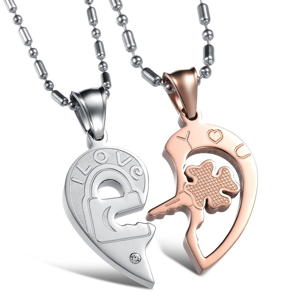 Christmas Gift Couple Necklace Titanium Necklaces Pendants Cute ...