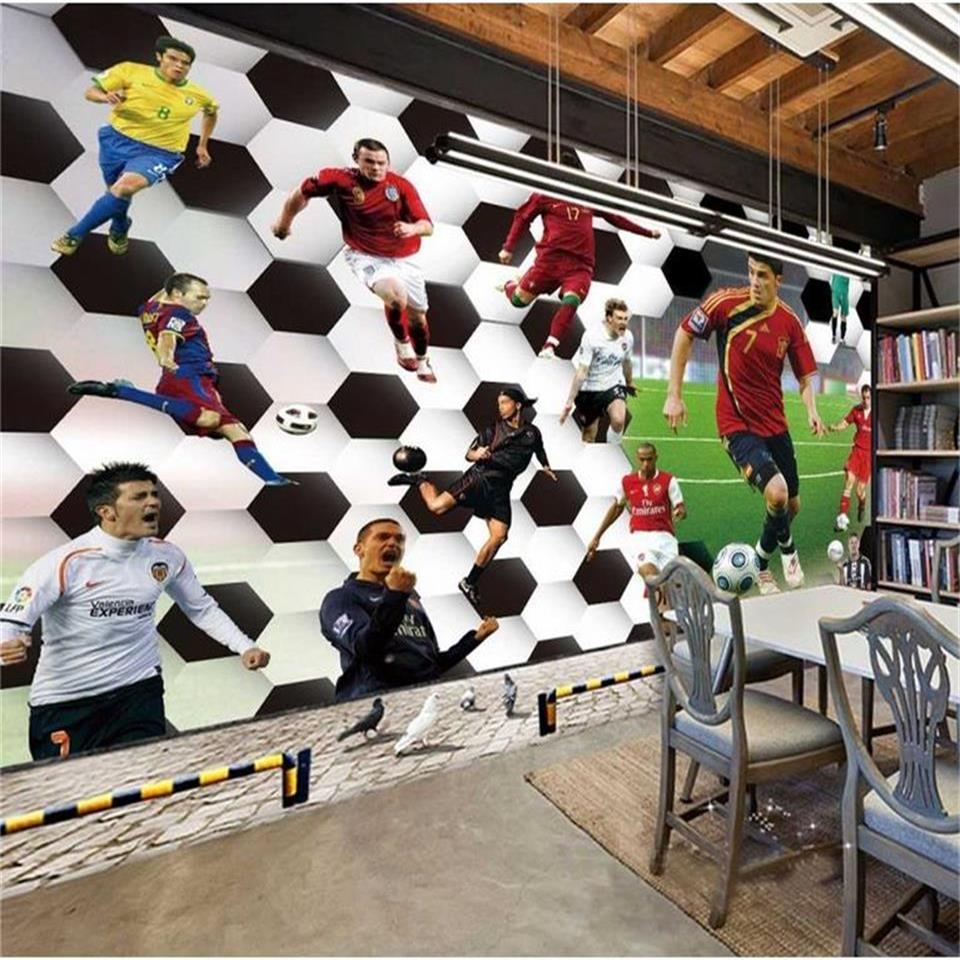 3d wallpaper photo wallpaper custom living room mural ball game soccer star painting sofa TV background wall non-woven sticker free shipping european tv background wall painting non woven wallpaper living room wallpaper modern rose wallpaper mural